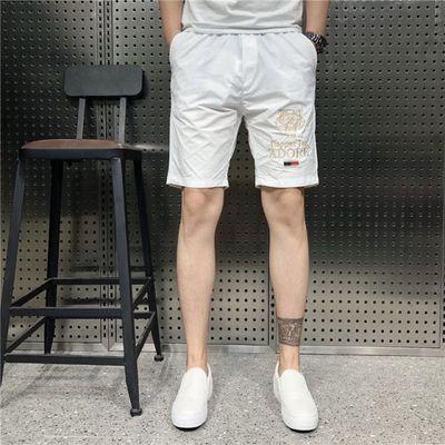 2020夏季新款男士速干短裤韩版刺绣蜜蜂纯色运动五分裤沙滩大裤衩