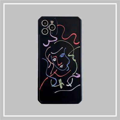 艺术涂鸦线条头像11Pro苹果X硅胶XS全包XR手机壳iPhone7p8p保护套