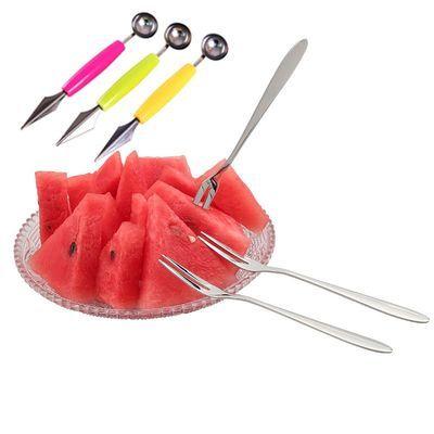 不锈钢水果叉套装挖球器水果叉子水果刀水果签甜品叉蛋糕叉韩式