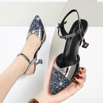 包头凉鞋女2020新款夏季一字扣高跟性感百搭尖头细跟真皮中跟女鞋
