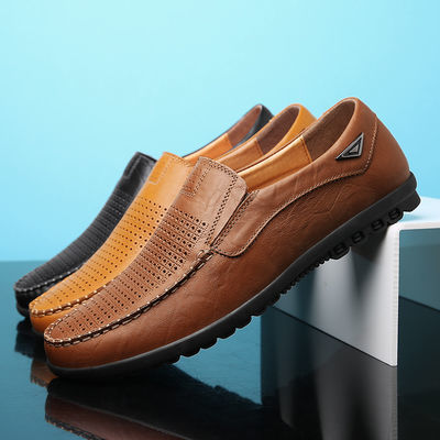 【真牛皮 打孔透气】夏秋季热销男鞋夏季凉皮鞋男士舒适休闲皮鞋