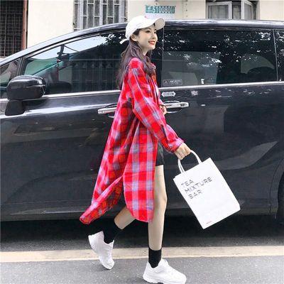 格子长袖bf长款衬衫外套2020春装新款韩版宽松百搭chic港味上衣女