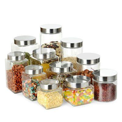 玻璃储物罐收纳罐方圆形杂粮干果花茶叶奶粉密封罐糖果罐玻璃瓶子