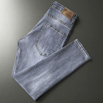 男士破洞牛仔裤夏季薄款黑色牛仔裤男韩版潮流休闲蓝色牛仔裤修身