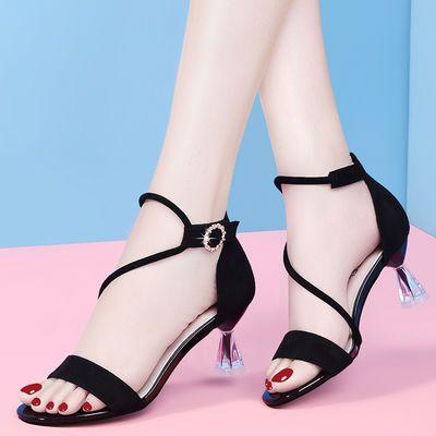 凉鞋女中跟仙女风2020新款黑色高跟鞋细跟韩版百搭女士一字扣露趾
