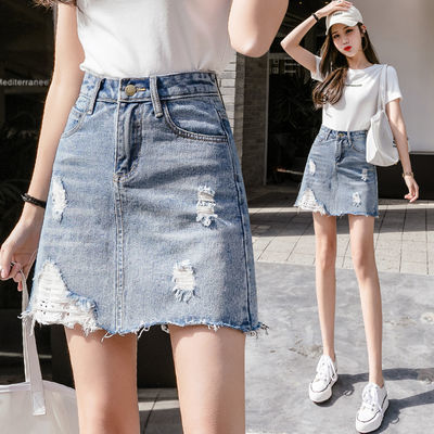 破洞牛仔半身裙女夏2020新款高腰显瘦a字款防走光不规则包臀短裙
