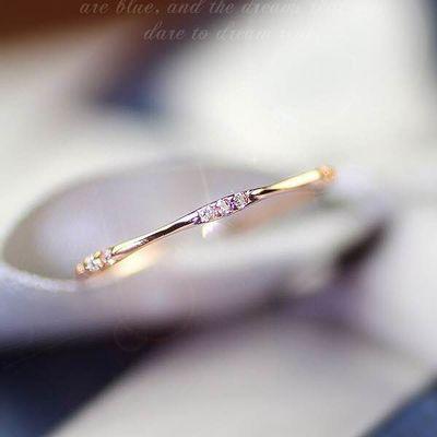 薇妮热卖新款镀仿14K黄金9颗碎钻简约戒指精致小清新时尚珠宝指环