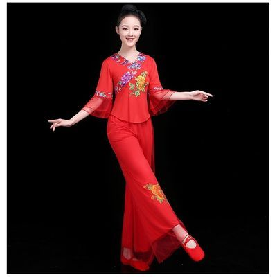 舞蹈服装套装女成人新款民族风演出服中老年夏天广场舞跳舞裙