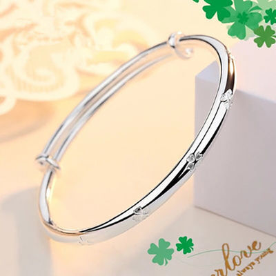 镀银手镯女银手链满天星送女友学生日韩时尚简约百搭情人礼物