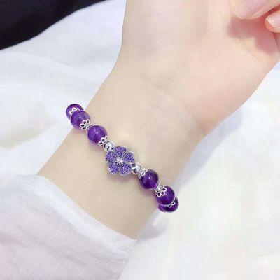 天然紫水晶手链原创招财转运招桃花水晶手串女韩版个性森系送闺蜜