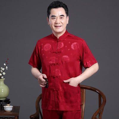唐装男女情侣装中老年生日礼服中式老人过寿爸爸妈妈夏季短袖套装