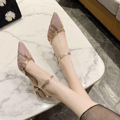 新款凉鞋女夏2020优雅时尚高跟鞋尖头细跟单鞋一字扣网红款鞋子女