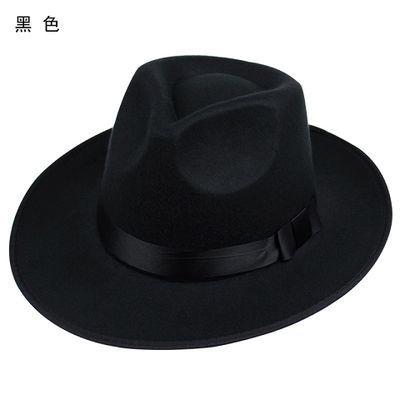 新款礼帽男 大帽檐复古上海滩帽子新�O帽子表演帽 黑色英伦爵士帽