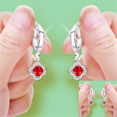 韩版幸运草耳环长款耳扣简约气质耳坠水晶钻石耳钉女网红耳钩
