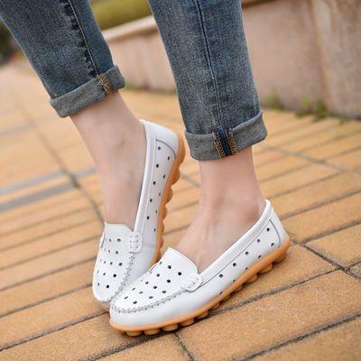【35-44码】豆豆鞋女夏季镂空真皮平底单鞋女休闲防滑孕妇鞋凉鞋