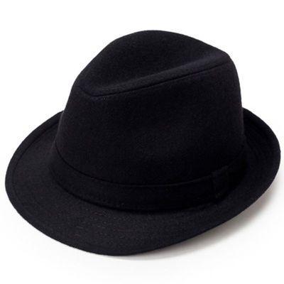 新款秋冬季礼帽男大檐复古上海滩帽子新�O帽表演帽黑色冬天英伦爵