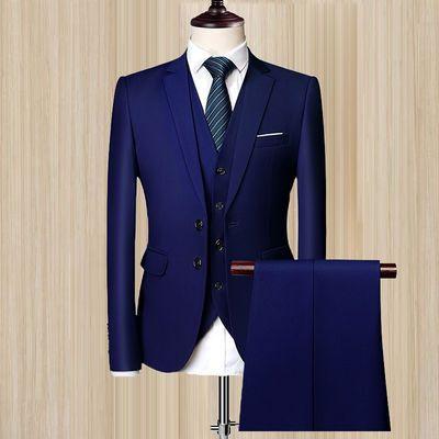 西服套装男士三件套商务修身职业正装西装伴郎服韩版新郎结婚礼服