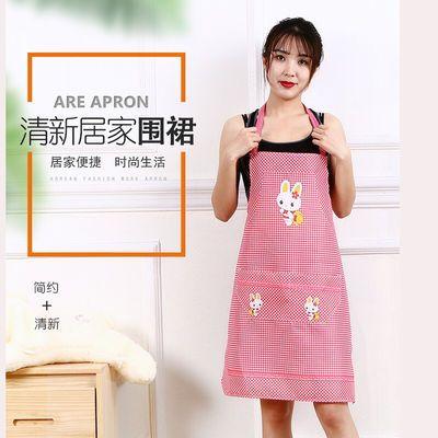 家用围腰围裙反穿可擦手方格无袖罩衣成人围裙卡通围裙防油腻污渍