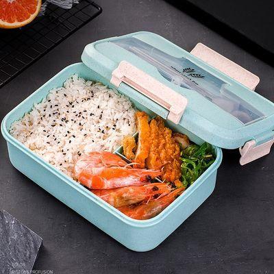 小麦秸秆饭盒学生女保温便当盒日式分格微波炉上班族成人饭盒带盖