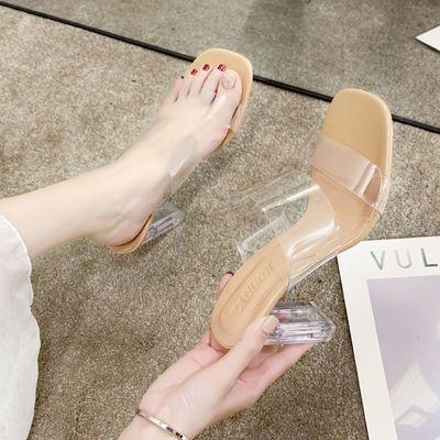 新款2020夏网红同款一字带透明带超高跟鞋凉鞋女粗跟水晶跟性感凉