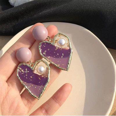 一颗紫色的少女心~可爱心形耳环韩国复古软糖桃心耳饰韩国潮耳夹