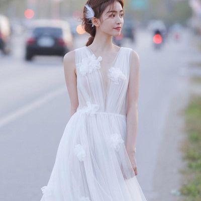 轻婚纱女小个子2020新款旅拍森系宫廷一字肩拖尾显瘦齐地简约礼服