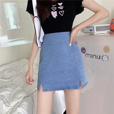 牛仔短裙女夏季2020新款学生韩版高腰a字裙天丝包臀网红半身裙子