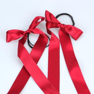 韩国热卖发饰超仙甜美缎带蝴蝶结长飘带丝带发绳头饰发带头绳发圈