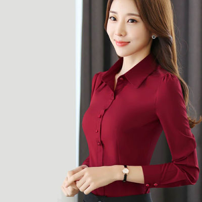 宝蓝色红衬衫女春秋长袖韩版修身职业装酒红色白色衬衫女防走光
