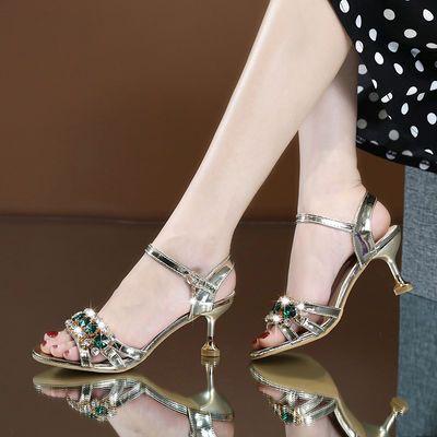 凉鞋女高跟2020夏季性感百搭细跟一字扣水钻女士凉鞋新款水晶鞋女