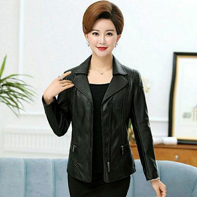 中老年人皮衣女短款40-50岁妈妈装修身显瘦大码机车皮夹克外套秋