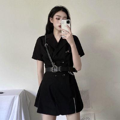 2020新款夏季黑色连衣裙女短袖双排扣裙子西装裙工装风收腰ins潮