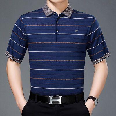 皮尔卡丹桑蚕丝短袖T恤男夏季中老年宽松品牌大码商务条纹爸爸装