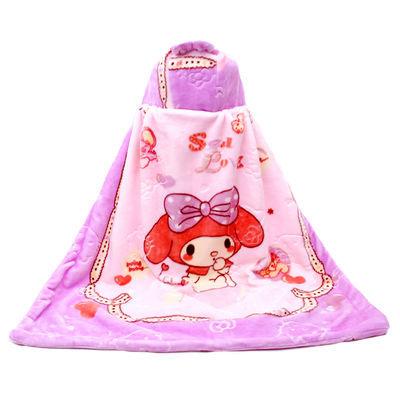 宝宝披风斗篷云毯童毯双层加厚带帽儿童礼品毛毯抱毯婴儿卡通盖毯