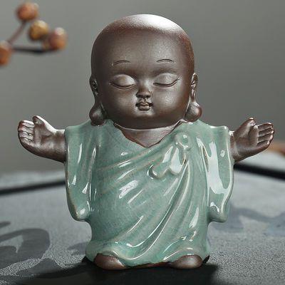 哥窑琴棋书画弥勒佛像小和尚紫砂小如来茶具开片茶宠多肉摆件精品