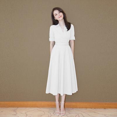 白色衬衫连衣裙女高圆圆明星同款v领雪纺长裙小白裙修身礼服裙子
