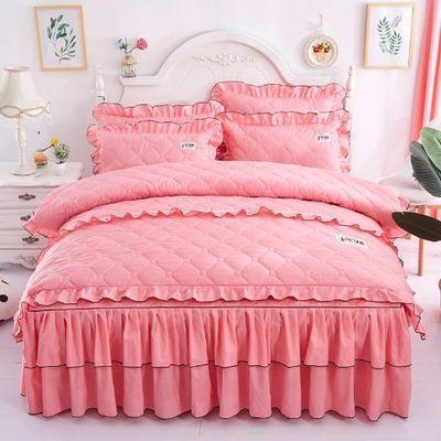 全夹棉床裙四件套加厚韩版床罩保暖单双人全加棉被套结婚床上用品