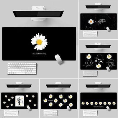 GD权志龙同款小雏菊黑色电竞超大防水锁边游戏鼠标垫键盘防滑桌垫