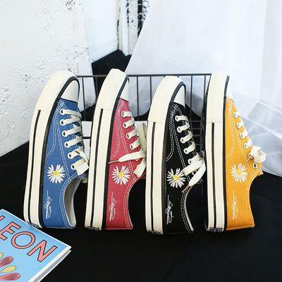 低帮小雏菊帆布鞋女学生韩版布鞋ins复古权志龙GD同款黑色布鞋潮