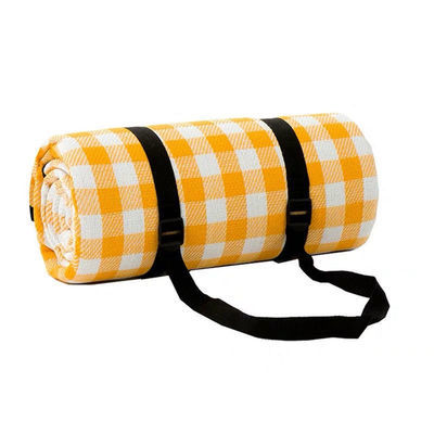 网红黄白格户外垫子 防潮垫野餐垫布 野炊草坪露营帐篷地垫2*2
