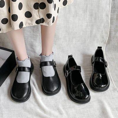 大头鞋女韩版学生原宿韩版娃娃复古可爱圆头皮带扣ulzzang小皮鞋