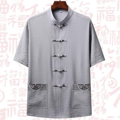 中老年人汉服男短袖唐装棉麻套装宽松爸爸夏装中国风男装爷爷衣服