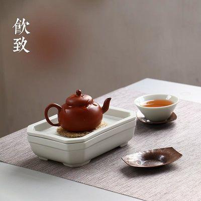秘色釉壶承干泡盘储水茶盘家用蓄水陶瓷小型茶台简易茶具托盘简约
