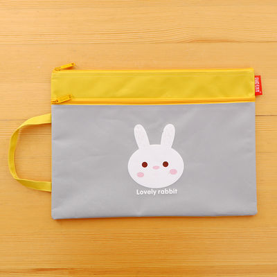 韩国文具可爱学生卡通手提文件袋牛津布A4双层文件袋拉链袋资料袋