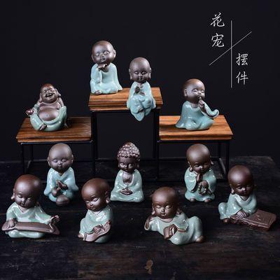 哥窑禅意小和尚花宠桌面迷你小摆件花盆陶瓷微景观盆景造景装饰品