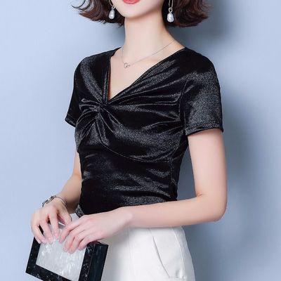 真丝衬衫女短袖上衣美欧哥弟菲2020夏装新款桑蚕丝缎面T恤雪纺衫