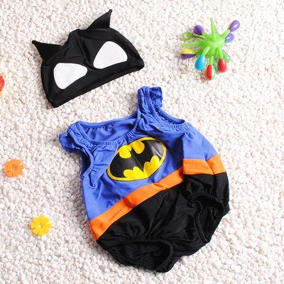 儿童泳衣男童女童0-4岁婴幼儿小童宝宝可爱连体温泉游泳馆送泳帽