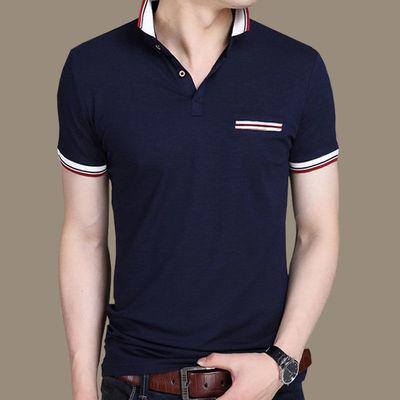 2020新款男士短袖t恤夏季潮流纯棉半袖修身翻领polo衫男带领体恤