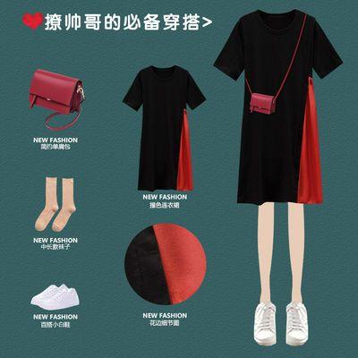 黑色休闲t恤裙连衣裙子中长款宽松短袖夏加肥加大码女装200斤胖妹