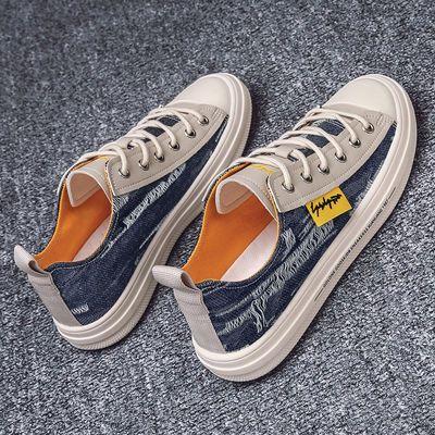 男鞋2020新款夏季男士布鞋韩版潮流休闲百搭个性板鞋透气帆布鞋子
